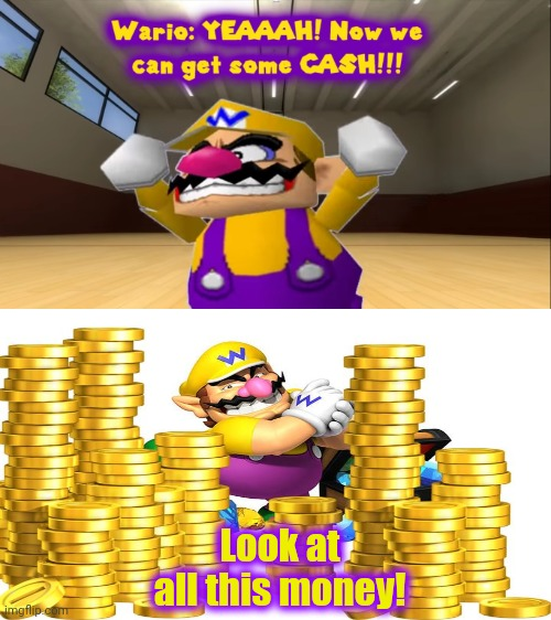 Wario gets money |  Look at all this money! | image tagged in money-making wario,wario,mario,smg4,nintendo,super mario | made w/ Imgflip meme maker