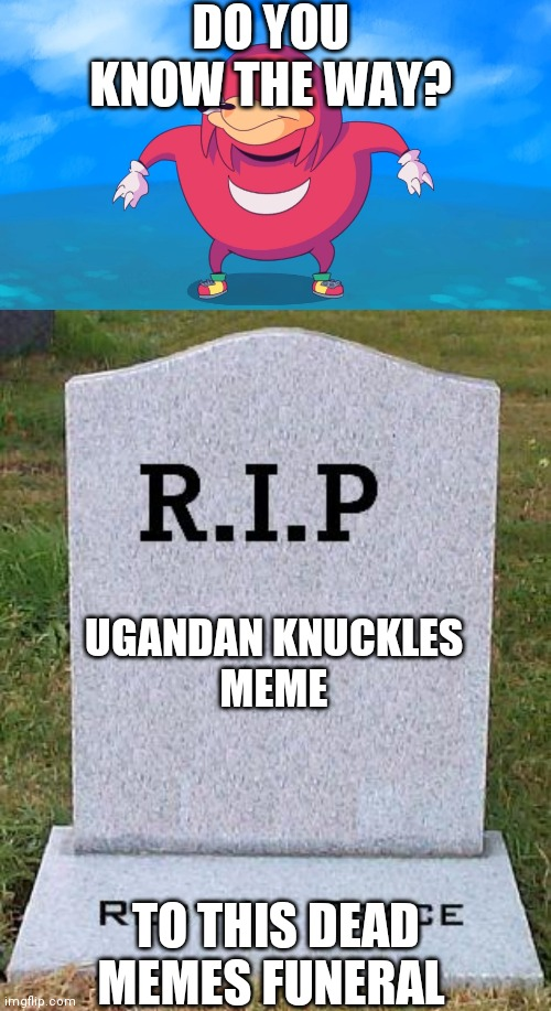 DO YOU KNOW THE WAY? UGANDAN KNUCKLES MEME; TO THIS DEAD MEMES FUNERAL | image tagged in rip headstone,uganda knuckles | made w/ Imgflip meme maker