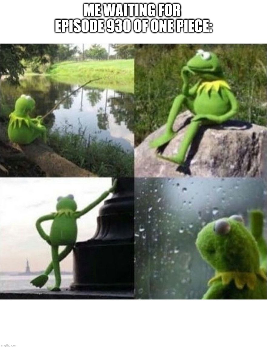 Waiting for episode of One Piece |  ME WAITING FOR  EPISODE 930 OF ONE PIECE: | image tagged in blank kermit waiting | made w/ Imgflip meme maker