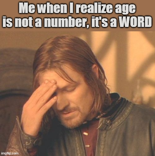 Frustrated Boromir |  Me when I realize age is not a number, it's a WORD | image tagged in memes,frustrated boromir | made w/ Imgflip meme maker