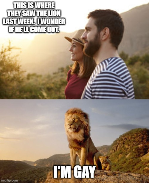THIS IS WHERE THEY SAW THE LION LAST WEEK.  I WONDER IF HE'LL COME OUT. I'M GAY | image tagged in funny,gay pride,funny memes | made w/ Imgflip meme maker