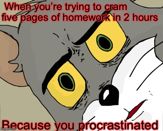 Your days in school |  When you're trying to cram five pages of homework in 2 hours; Because you procrastinated | image tagged in memes,unsettled tom,tom and jerry,funny,homework,procrastination | made w/ Imgflip meme maker