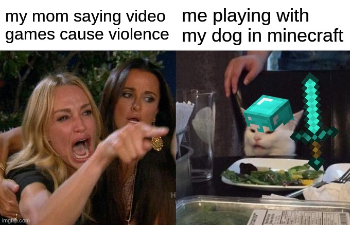 true doe |  my mom saying video games cause violence; me playing with my dog in minecraft | image tagged in memes,woman yelling at cat | made w/ Imgflip meme maker