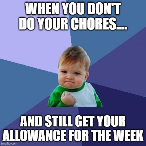 Success Kid Meme |  WHEN YOU DON'T DO YOUR CHORES.... AND STILL GET YOUR ALLOWANCE FOR THE WEEK | image tagged in memes,success kid | made w/ Imgflip meme maker