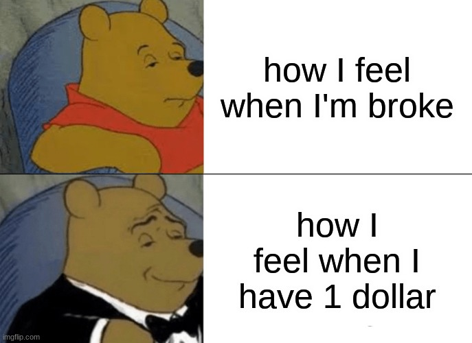 Tuxedo Winnie The Pooh Meme |  how I feel when I'm broke; how I feel when I have 1 dollar | image tagged in memes,tuxedo winnie the pooh | made w/ Imgflip meme maker