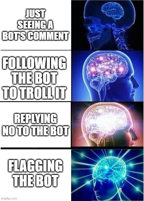 Bot destruction scale |  JUST SEEING A BOT'S COMMENT; FOLLOWING THE BOT TO TROLL IT; REPLYING NO TO THE BOT; FLAGGING THE BOT | image tagged in memes,expanding brain,bots,imgflip,comment,reply | made w/ Imgflip meme maker