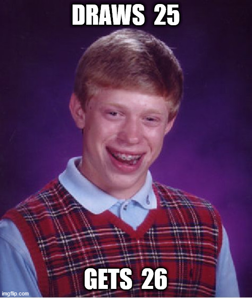 Bad Luck Brian Meme | DRAWS  25 GETS  26 | image tagged in memes,bad luck brian | made w/ Imgflip meme maker