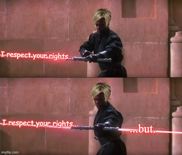Darth maul doublesided lightsaber sentence finish |  I respect your rights... I respect your rights... ...but. | image tagged in darth maul doublesided lightsaber sentence finish | made w/ Imgflip meme maker