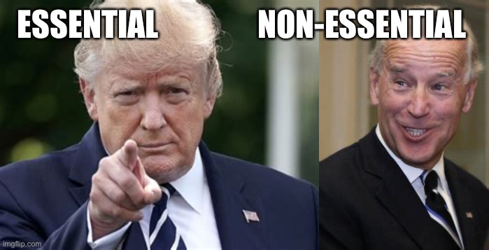 Trump is essential |  ESSENTIAL                NON-ESSENTIAL | image tagged in trump,biden,leader | made w/ Imgflip meme maker