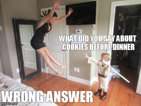 Cookies before dinner  | WHAT DID YOU SAY ABOUT COOKIES BEFORE DINNER WRONG ANSWER | image tagged in funny,jedi,kids | made w/ Imgflip meme maker