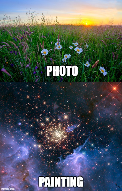 observable reality |  PHOTO; PAINTING | image tagged in sunrise meadow,nebula | made w/ Imgflip meme maker