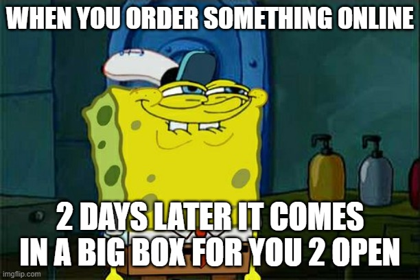 Every time |  WHEN YOU ORDER SOMETHING ONLINE; 2 DAYS LATER IT COMES IN A BIG BOX FOR YOU 2 OPEN | image tagged in memes,don't you squidward | made w/ Imgflip meme maker