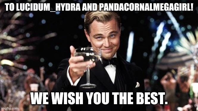 Congrats |  TO LUCIDUM_HYDRA AND PANDACORNALMEGAGIRL! WE WISH YOU THE BEST. | image tagged in gatsby toast,coolish,pandacornalmegagirl,lucidum_hydra,wedding | made w/ Imgflip meme maker