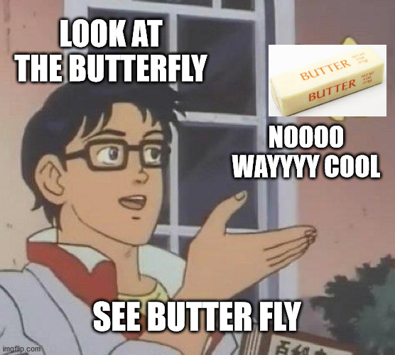 Is This A Pigeon |  LOOK AT THE BUTTERFLY; NOOOO WAYYYY COOL; SEE BUTTER FLY | image tagged in memes,is this a pigeon | made w/ Imgflip meme maker