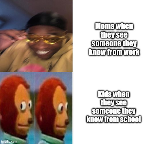 It's Kind of True |  Moms when they see someone they know from work; Kids when they see someone they know from school | image tagged in memes,monkey puppet | made w/ Imgflip meme maker