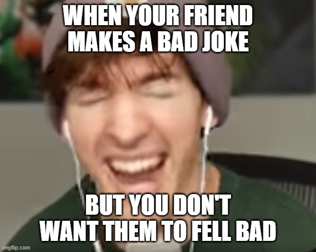 I haven't actually experienced this yet. Most of the time, I'm the one making the bad joke |  WHEN YOUR FRIEND MAKES A BAD JOKE; BUT YOU DON'T WANT THEM TO FELL BAD | image tagged in low quality albert screaming | made w/ Imgflip meme maker