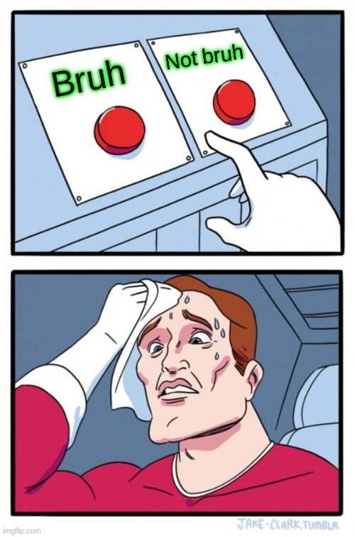 Two Buttons Meme |  Not bruh; Bruh | image tagged in memes,two buttons | made w/ Imgflip meme maker
