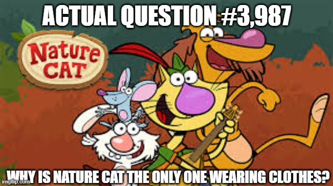 Actual Questions |  ACTUAL QUESTION #3,987; WHY IS NATURE CAT THE ONLY ONE WEARING CLOTHES? | image tagged in questions,good question | made w/ Imgflip meme maker
