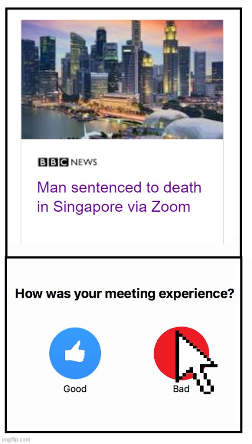 zoom singapore | image tagged in zoom,singapore,bad call,call,meme,dark humor | made w/ Imgflip meme maker