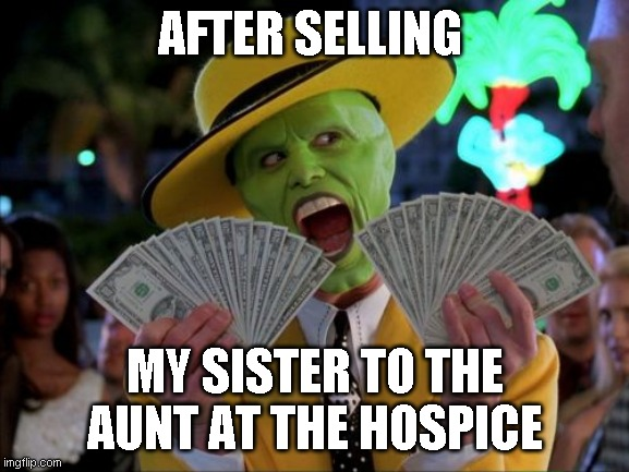 Money Money |  AFTER SELLING; MY SISTER TO THE AUNT AT THE HOSPICE | image tagged in memes,money money | made w/ Imgflip meme maker