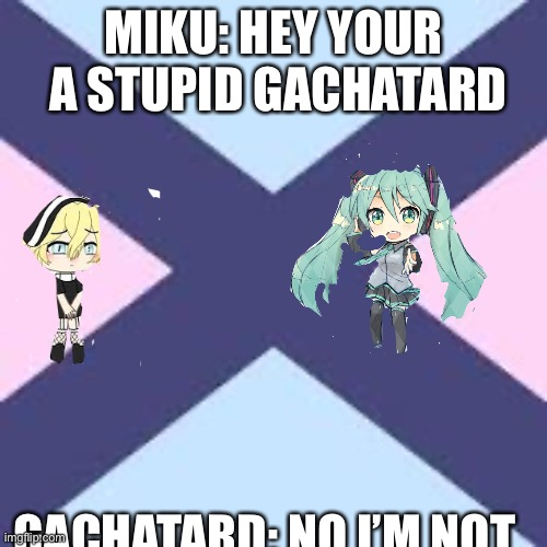 Stupid gacha |  MIKU: HEY YOUR  A STUPID GACHATARD; GACHATARD: NO I'M NOT | image tagged in hatsune miku | made w/ Imgflip meme maker