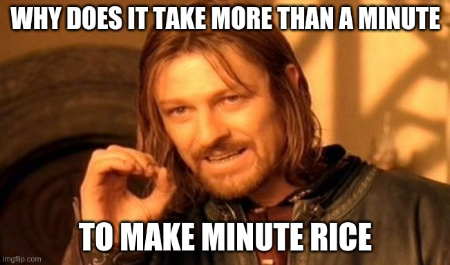 Just change the name |  WHY DOES IT TAKE MORE THAN A MINUTE; TO MAKE MINUTE RICE | image tagged in memes,one does not simply,rice,why | made w/ Imgflip meme maker