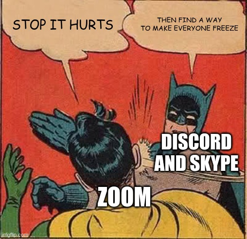 zoom |  STOP IT HURTS; THEN FIND A WAY TO MAKE EVERYONE FREEZE; DISCORD AND SKYPE; ZOOM | image tagged in memes,batman slapping robin | made w/ Imgflip meme maker