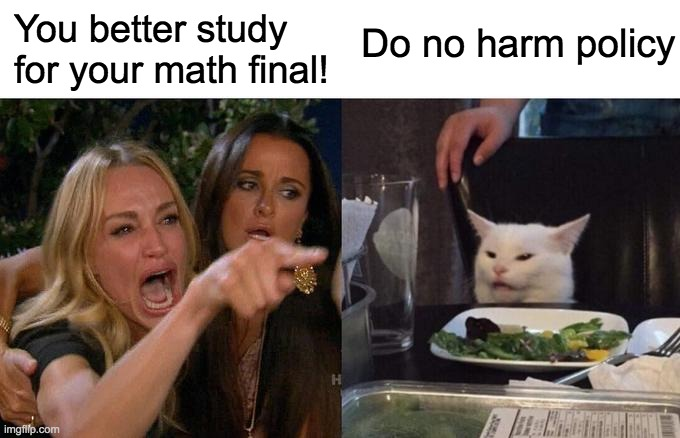 Woman Yelling At Cat Meme |  You better study for your math final! Do no harm policy | image tagged in memes,woman yelling at cat | made w/ Imgflip meme maker