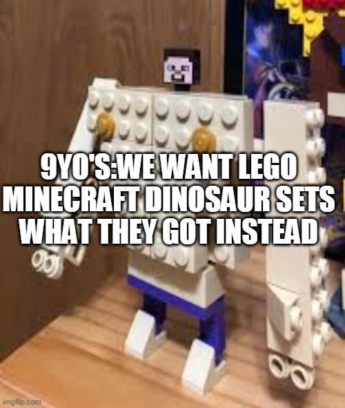 9YO'S:WE WANT LEGO MINECRAFT DINOSAUR SETS WHAT THEY GOT INSTEAD | image tagged in legos | made w/ Imgflip meme maker