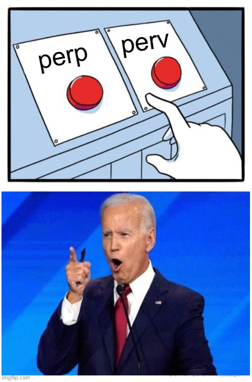 Decidin Joe Biden |  perv; perp | image tagged in memes,two buttons | made w/ Imgflip meme maker
