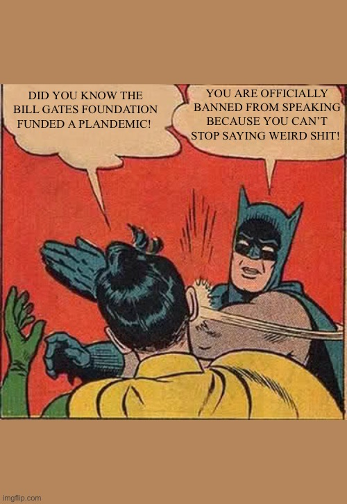 Batman Slapping Robin Meme |  YOU ARE OFFICIALLY BANNED FROM SPEAKING BECAUSE YOU CAN'T STOP SAYING WEIRD SHIT! DID YOU KNOW THE BILL GATES FOUNDATION FUNDED A PLANDEMIC! | image tagged in memes,batman slapping robin | made w/ Imgflip meme maker