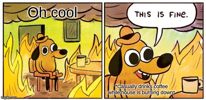 Dis is fine |  Oh cool; *Casually drinks coffee while house is burning down* | image tagged in memes,this is fine | made w/ Imgflip meme maker