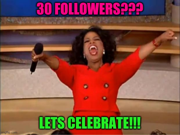 Oh yeahhh |  30 FOLLOWERS??? LETS CELEBRATE!!! | image tagged in memes,oprah you get a | made w/ Imgflip meme maker