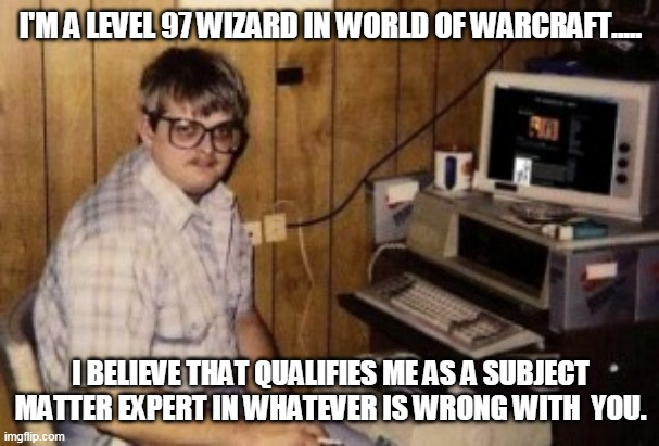 WoW Expert |  I'M A LEVEL 97 WIZARD IN WORLD OF WARCRAFT..... I BELIEVE THAT QUALIFIES ME AS A SUBJECT MATTER EXPERT IN WHATEVER IS WRONG WITH  YOU. | image tagged in mom's basement guy | made w/ Imgflip meme maker