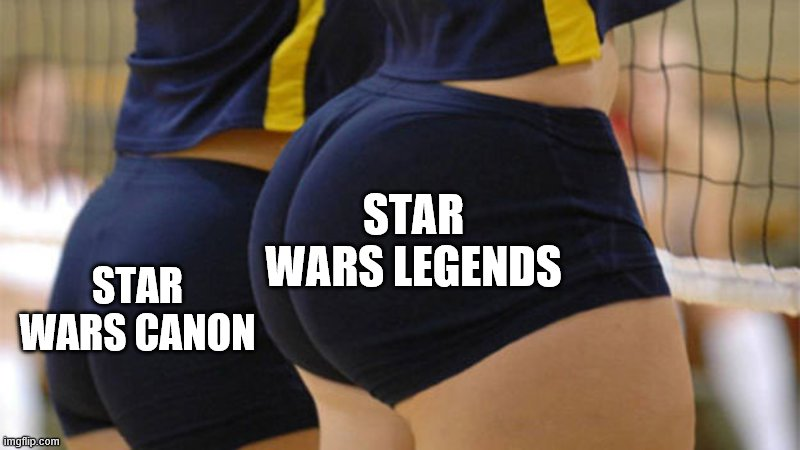 Volleyball Booty |  STAR WARS LEGENDS; STAR WARS CANON | image tagged in volleyball booty,memes,star wars,sequels,legends | made w/ Imgflip meme maker