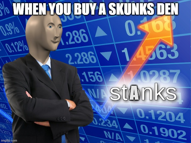 stonks |  WHEN YOU BUY A SKUNKS DEN; A | image tagged in stonks | made w/ Imgflip meme maker