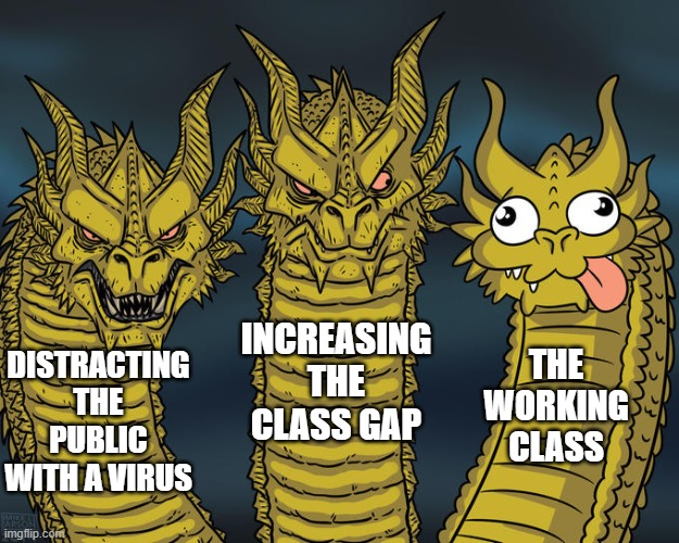 virus distraction |  INCREASING THE CLASS GAP; THE WORKING CLASS; DISTRACTING THE PUBLIC WITH A VIRUS | image tagged in three-headed dragon | made w/ Imgflip meme maker