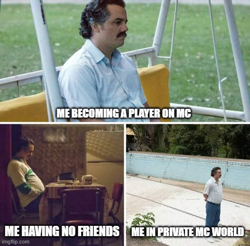 Sad Pablo Escobar Meme |  ME BECOMING A PLAYER ON MC; ME HAVING NO FRIENDS; ME IN PRIVATE MC WORLD | image tagged in memes,sad pablo escobar | made w/ Imgflip meme maker
