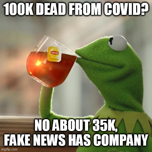 But That's None Of My Business Meme |  100K DEAD FROM COVID? NO ABOUT 35K, FAKE NEWS HAS COMPANY | image tagged in memes,but that's none of my business,kermit the frog | made w/ Imgflip meme maker