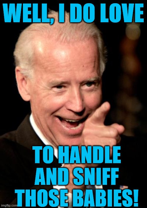 WELL, I DO LOVE TO HANDLE AND SNIFF THOSE BABIES! | image tagged in memes,smilin biden | made w/ Imgflip meme maker