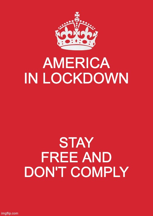 Stay Free |  AMERICA IN LOCKDOWN; STAY FREE AND DON'T COMPLY | image tagged in memes,keep calm and carry on red | made w/ Imgflip meme maker