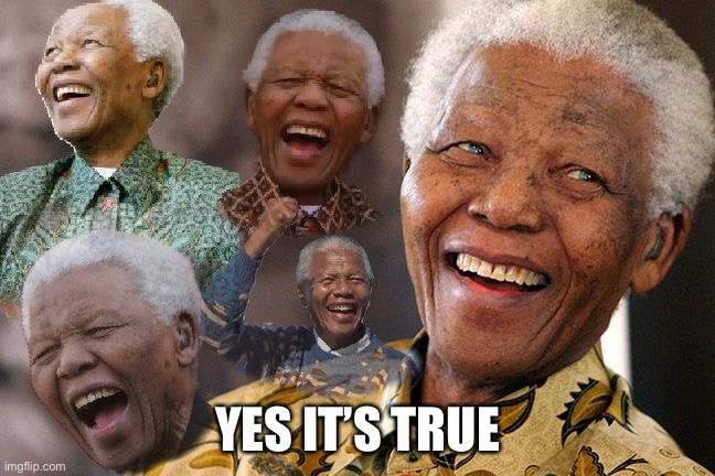 Mandela Laughing in Quarantine | YES IT'S TRUE | image tagged in mandela laughing in quarantine | made w/ Imgflip meme maker