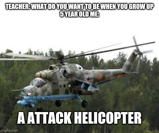 Attack Helicopter |  TEACHER: WHAT DO YOU WANT TO BE WHEN YOU GROW UP 5 YEAR OLD ME:; A ATTACK HELICOPTER | image tagged in attack helicopter,lol | made w/ Imgflip meme maker