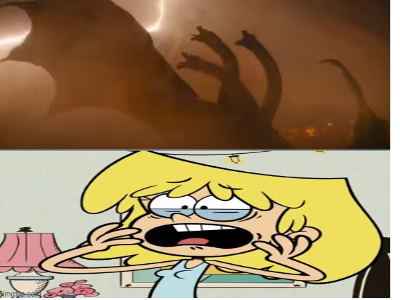 Ghidorah scares Lori Loud | image tagged in blank white template,king ghidorah,the loud house,nickelodeon,legendary,scared | made w/ Imgflip meme maker