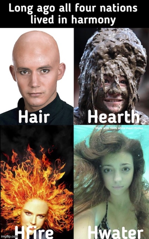 image tagged in hair,memes,meme,avatar the last airbender,play on words,misspelled | made w/ Imgflip meme maker