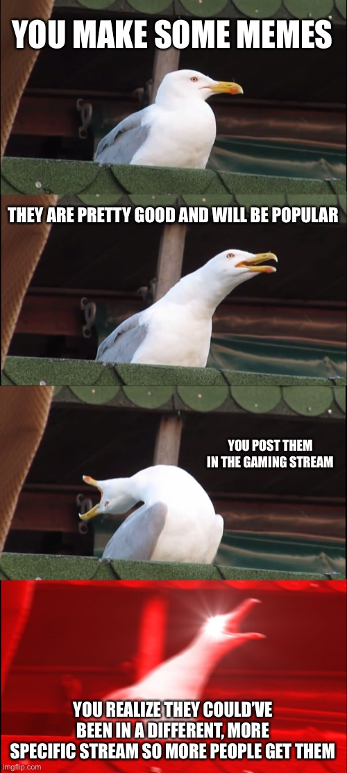*sudden realization* |  YOU MAKE SOME MEMES; THEY ARE PRETTY GOOD AND WILL BE POPULAR; YOU POST THEM IN THE GAMING STREAM; YOU REALIZE THEY COULD'VE BEEN IN A DIFFERENT, MORE SPECIFIC STREAM SO MORE PEOPLE GET THEM | image tagged in memes,inhaling seagull | made w/ Imgflip meme maker