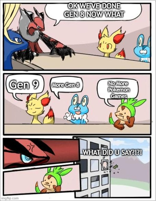 What did u say chespin? |  OK WE'VE DONE GEN 8 NOW WHAT; More Gen 8; Gen 9; No More  Pokemon Games; WHAT DID U SAY?!?! | image tagged in pokemon board meeting | made w/ Imgflip meme maker