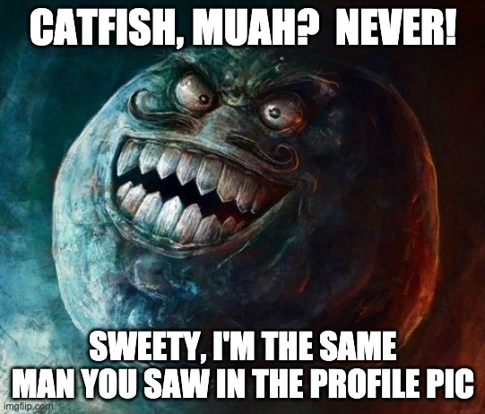 Mr. Catfish |  CATFISH, MUAH?  NEVER! SWEETY, I'M THE SAME MAN YOU SAW IN THE PROFILE PIC | image tagged in memes,i lied 2 | made w/ Imgflip meme maker