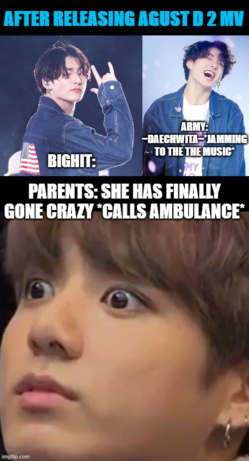 BTS meme |  AFTER RELEASING AGUST D 2 MV; ARMY: ~DAECHWITA~*JAMMING TO THE THE MUSIC*; BIGHIT:; PARENTS: SHE HAS FINALLY GONE CRAZY *CALLS AMBULANCE* | image tagged in memes,funny,bts | made w/ Imgflip meme maker