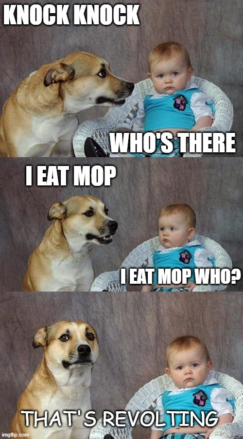 Bad Dad Joke May 22 2020 |  KNOCK KNOCK; WHO'S THERE; I EAT MOP; I EAT MOP WHO? THAT'S REVOLTING | image tagged in memes,dad joke dog | made w/ Imgflip meme maker